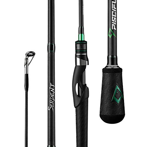 Piscifun Serpent Two Piece Spinning Rod, IM7 Toray Carbon Fiber, Fuji Guides, Tournament Level Performance Fishing Rods (6'10