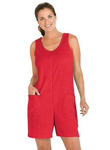 (Zip-Front Terry Romper, Color Red, Size Extra Large (2X), Red, Size Extra Large (2X))