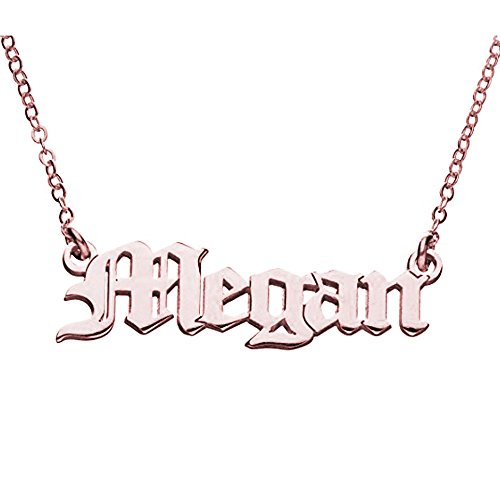 AOCHEE Personalized Old English Font Name Necklace Customized Monogram Nameplate Necklace (Rose Gold)