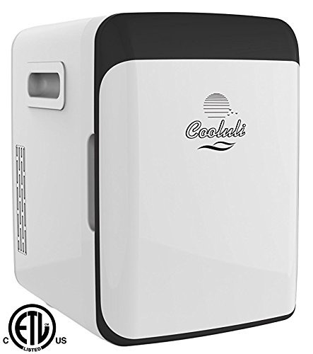 Cooluli Electric Mini Fridge Cooler and Warmer (15 Liter / 18 Can): AC/DC Portable Thermoelectric System (White) (Ac Refrigerator)