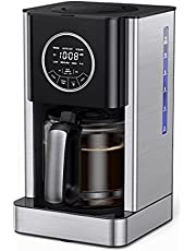 Drip Coffee Maker 12 Cup Programmable, Coffee Machine with Glass Coffee Pot Filter and Timer, Brew Strength Control, Keep Warm, Touch Control, Anti-Drip, Self-Cleaning Function for Home Kitchen