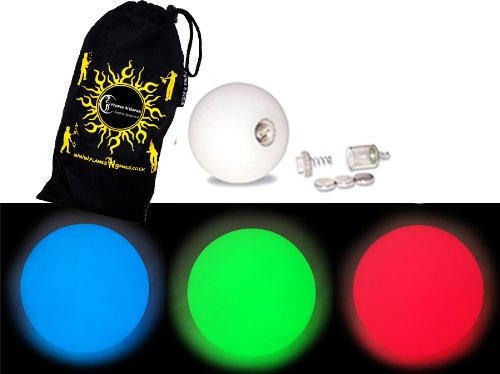 Flames N Games Pro LED Glow Juggling Balls Ultra Bright Battery Powered Glow LED Juggling Ball Sets with Travel Bag. - Balls Led Juggling