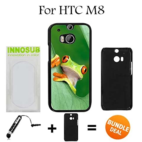 Nice Rain Forest Frog Custom HTC ONE M8 Cases-Black-Plastic,Bundle 2in1 Comes with Custom Case/Universal Stylus Pen by (Htc One M8 Case Frog)
