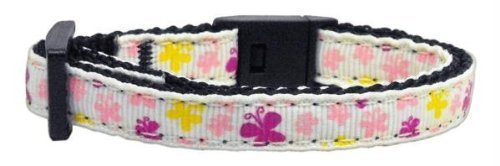 Mirage Pet Products Butterfly Nylon Ribbon Cat Safety Collar, White