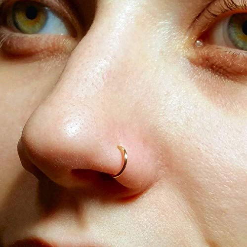 Amazon Com Faux Clip On Nose Ring 20g 14k Gold Filled No Piercing Needed Handmade