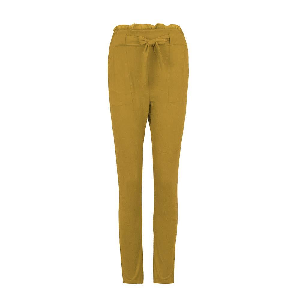 Coolster Damen-beiläufige Gestreifte Hohe Taillen-Hosen-elastische Taillen-beiläufige Hosen