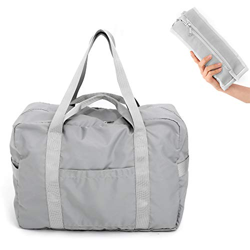 Travel Duffel Bag Foldable Travel Bag Diaper Bag Weekend Bag Checked Bag Luggage Tote Waterprroof (grey) from WFLB