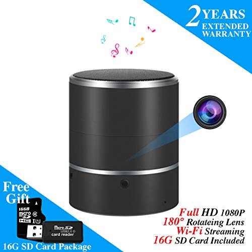 Speaker Security Camera by WEMLB - HD 1080P WiFi Camera - Wireless Stereo Speaker Bluetooth Music Player Nanny cam- Lens Support Left/Right 180° Rotation - Nanny Cameras - Motion Alarm ()