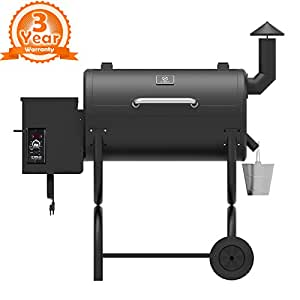 Z Grills ZPG-550B Wood Pellet Grill and Smoker 7 in 1 Bbq Auto Temperature Control, 550 sq Inch, 550 Black