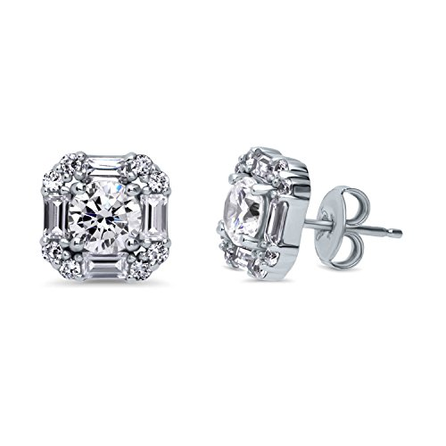 - BERRICLE Rhodium Plated Sterling Silver Round Cubic Zirconia CZ Art Deco Halo Anniversary Fashion Stud Earrings