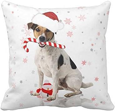 40 * 40cm Color 1 WY-Pillow Warrantyll Jack Russel Coussin carr/é en Coton d/écoratif Motif Chien Coton 16*16