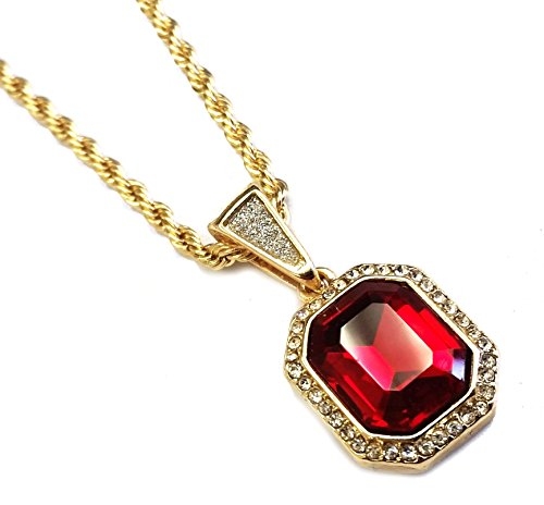 Red Stone Jewel - Exo Jewel Mini Gemstone Pendant Necklace with 24