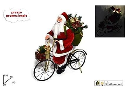 Babbo Natale In Bicicletta.Babbo Natale Su Bicicletta 110cm C Luci E Musicapupazzo Grande
