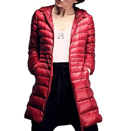 Cerniera Con Bolawoo Colori Di Leggero Cappuccio Manica Invernali Solidi Mode Giacca Calda Lunga Tasche Donna Marca Outwear Trench Laterali Lila Confortevole Piumini C007qt8