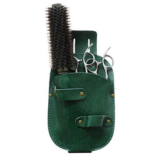WANGXN Soporte de Cajas de Tijeras para peluqueros Cuero de PU Tijeras de Peluquero Funda/Funda,Green