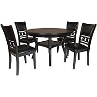 New Classic Gia Round 5 Piece Dining Set, Ebony