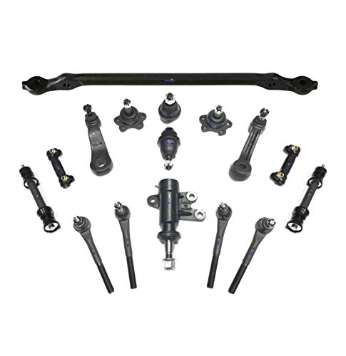Gmc C2500 Suburban Pitman Arm - PartsW 16 Pc New Suspension Kit for GMC & Chevrolet / C1500 Suburban / C2500 / Tahoe/Yukon / Adjusting Sleeves, Ball Joints, Center Link with Idler & Pitman Arms, Tie Rod Ends & Sway Bars