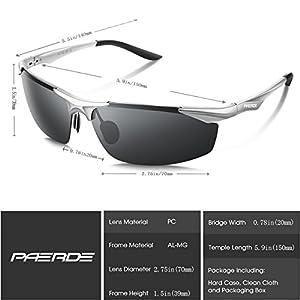 PAERDE Men's Sports Style Polarized Sunglasses for Men Driving Fishing Cycling Golf Running Al-Mg Metal Frame Ultra Light Glasses (Silver frame&Black lens)