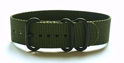 Zulu G10 Nato Military Watch Strap 3 Ring PVD Watch Band - Green 22mm Watch Band (Watch Strap Ring)