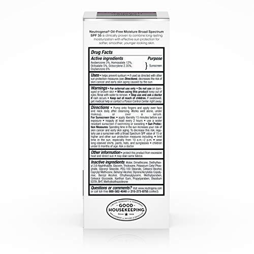 Neutrogena Oil Free Daily Long Lasting Facial Moisturizer & Neck Cream - Oil Free Moisturizer Won't Clog Pores with SPF 35 Sunscreen, Glycerin, 2.5 Fl. Oz