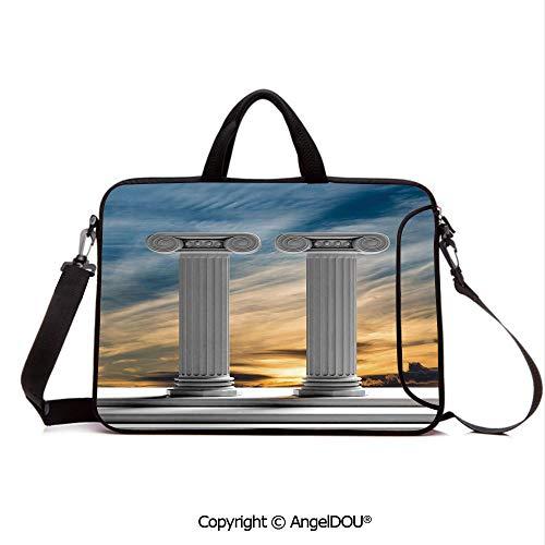 - AngelDOU Laptop Shoulder Bag Waterproof Neoprene Computer Case Two Ancient Marble Pillars at Sunset Clouds in The Sky Digital Image with Handle Adjustable Shoulder Strap and External Side Pocket Blu