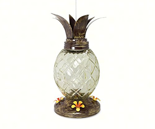 PineBush PINE88155 Pineapple Hummingbird Feeder - Entrance Bronze English