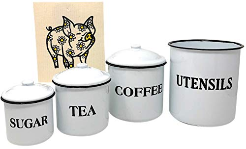 Set of White Enamel Utensil Holder & Coffee Tea Sugar Storage Containers Kitchen Organizers & Swedish Cleaning Cloth (Bundle of 5) ()