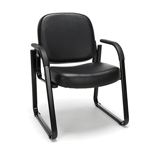 OFM Reception Chair with Arms – Anti-Microbial Anti-Bacterial Vinyl Guest Chair, Black