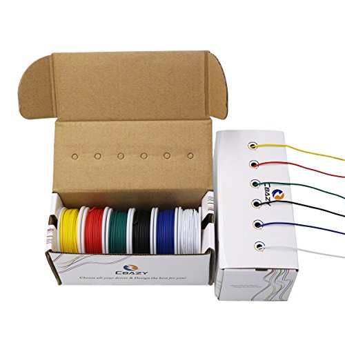CBAZYTM Hook up Wire Kit (Stranded Wire Kit) 20 Gauge 6 Colors 19.6 feet Each Electrical Wire 20 AWG PVC Wire