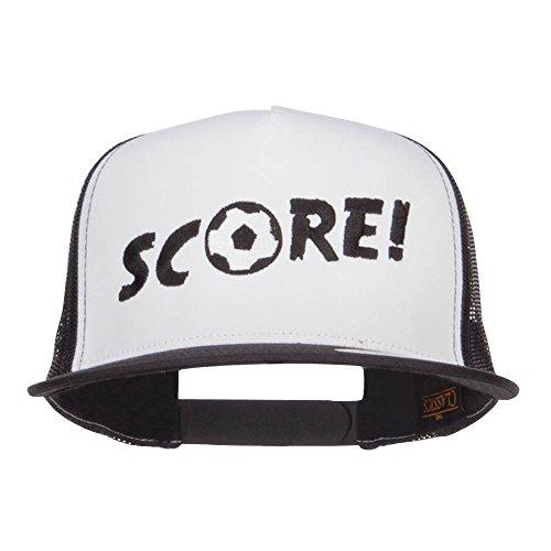 Soccer Trucker Hat - E4hats Soccer Score Embroidered Classic Trucker Cap - Black OSFM