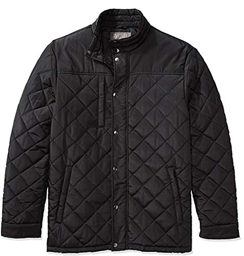 The Plus Project Mens Lightweight Quilted Coats, Water Resistant Windbreaker Barn Insulated Puffer Polo Warm Winter Jacket 3X-Large Black