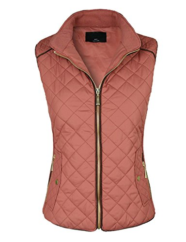 makeitmint Women's Basic Solid Quilted Padding Jacket Vest w/ Pockets Small YJV0002_BLUSH