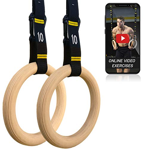 DOUBLE CIRCLE Wood Gymnastic Rings, Competition Straps and Ebook - Gymnastics Equipment for Gym, CrossFit, and Bodyweight Training, Premium, Heavy Duty Numbered Straps for Fast Use