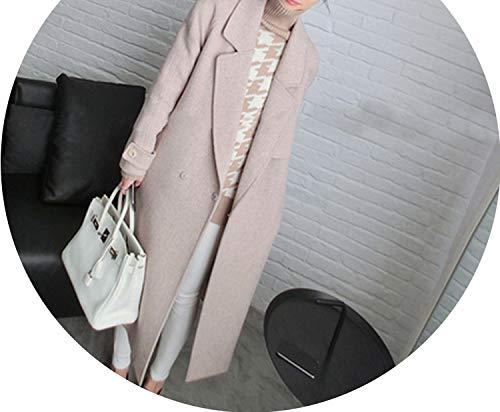 (Coat Korean Winter Hepburn Wind Cashmere Suit Collar Woolen Coat,Pink,L)