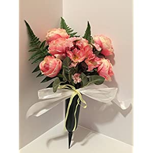 GRAVE DECOR - CEMETERY MARKER - FUNERAL ARRANGEMENT - FLOWER VASE - PINK WITH YELLOW CABBAGE ROSES, TWEEDIA AND LILIES - 69
