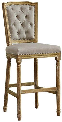 - Baxton Studio Julie French Vintage Cottage Weathered Oak Linen Upholstered Barstool, Medium, Beige