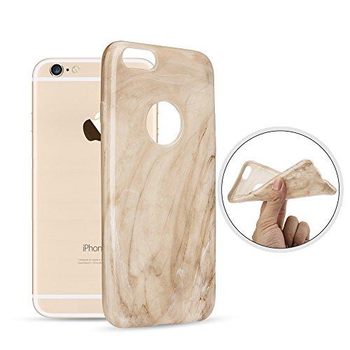 OKCS® Marmor Design TPU Hülle Case für Apple iPhone 6 Plus, 6s Plus Schutzhülle Back Cover - in Beige Weiß