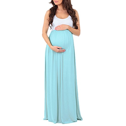 FYMNSI Women Maternity Photography Ruched Color Block Tank Dress Sleeveless Baby Shower Long Maxi Pregnant Gown Mint Green L