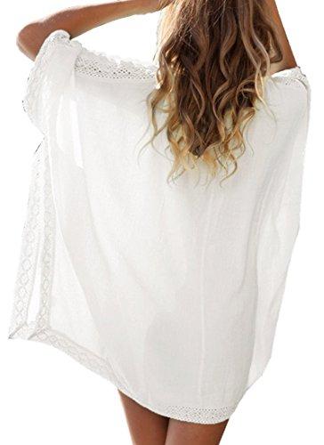 DQdq - Camisola - Manga corta - para mujer Blanco blanco