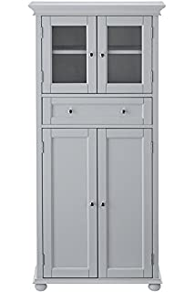 Hampton Bay 1 Drawer Tall Bath Cabinet, 4 DOOR, DOVE GREY