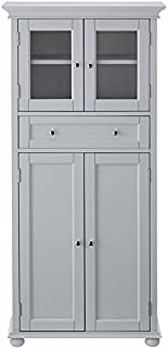 H&ton Bay 1 drawer Tall Bath Cabinet 4-DOOR DOVE GREY  sc 1 st  Amazon.com & Amazon.com: Wood Linen Cabinet: Home u0026 Kitchen