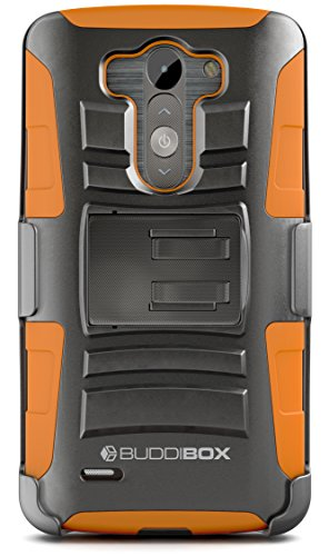 LG G3 Case, BUDDIBOX [HSeries] Heavy Duty Swivel Belt Clip Holster with Kickstand Maximal Protection Case for LG G3, (Orange) (Best Phone Case For Lg G3)