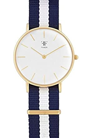 Faber Damen-Armbanduhr Analog Quarz Nylonband F602YG