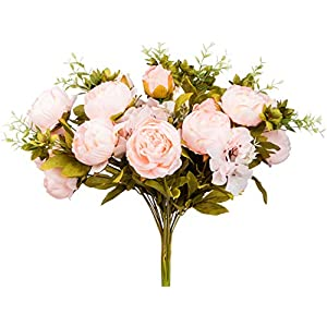 Foraineam Peony Artificial Flowers Home Centerpiece Decor Silk Fake Peonies Wedding Bouquets, Pack of 2 (Spring Pure Pink) 2