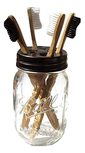 The Southern Jarring Co. Mason Jar Toothbrush Holder - Includes Genuine Glass 16 Ounce Ball Mason Jar - Made from Rustproof Stainless Steel - Holds 4 Toothbrushes (Oil-Rubbed Bronze)