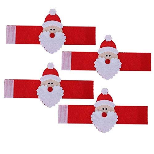 (Pendant & Drop Ornaments - 4pcs Napkin Rings Santa Claus Holders Xmas Dinner Party Christmas Table Decoration Year Decor - & Drop Ornaments Pendant)