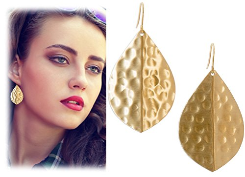 Hammered Style Earrings (Gold Boho Hammered Creased Leaf Tear Drop Earrings | SPUNKYsoul Collection)