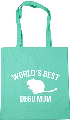 HippoWarehouse World's best degu mum Tote Shopping Gym Beach Bag 42cm x38cm, 10 litres Mint