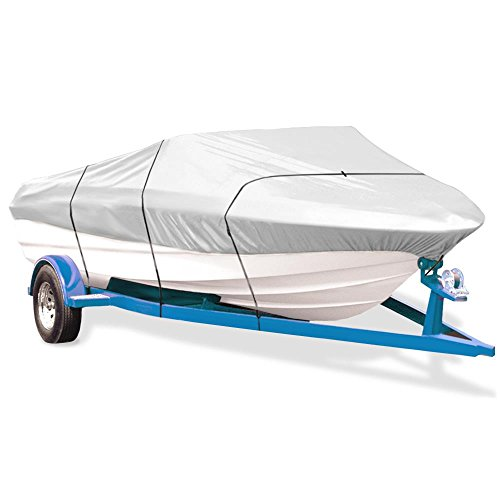 Pyle Protective Storage Boat Cover - Universal Waterproof, Mildew and Weather Resistant with UV Sun Damage Protection Armor Shield Marine Grade Canvas for Mooring Runabout and Outboard - ()