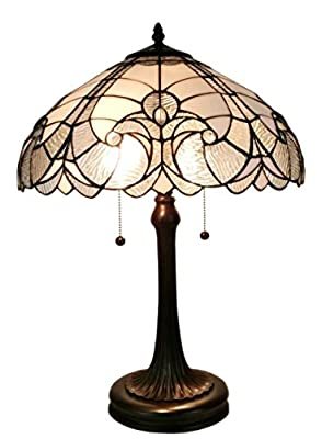 Amora Lighting AM204TL16 Tiffany Style White Table Lamp, 23""